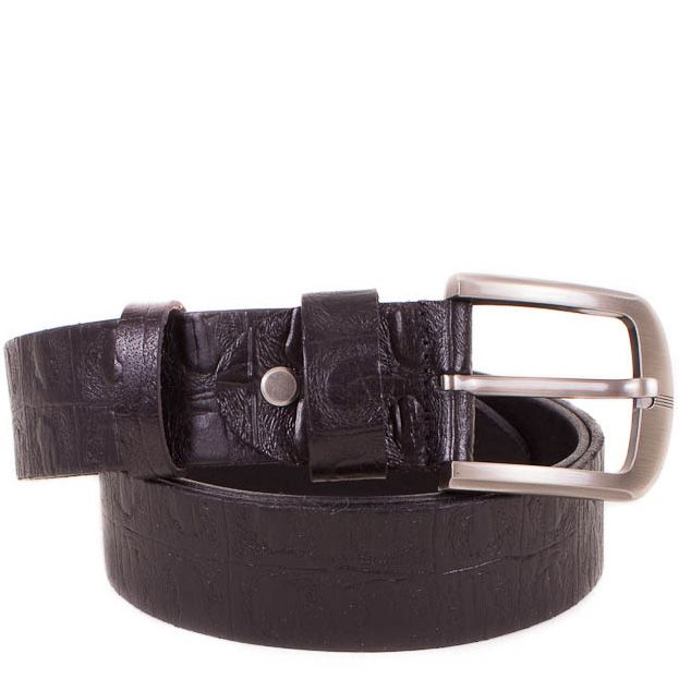 Ремень Eterno кожаный черный с фактурой рептилии