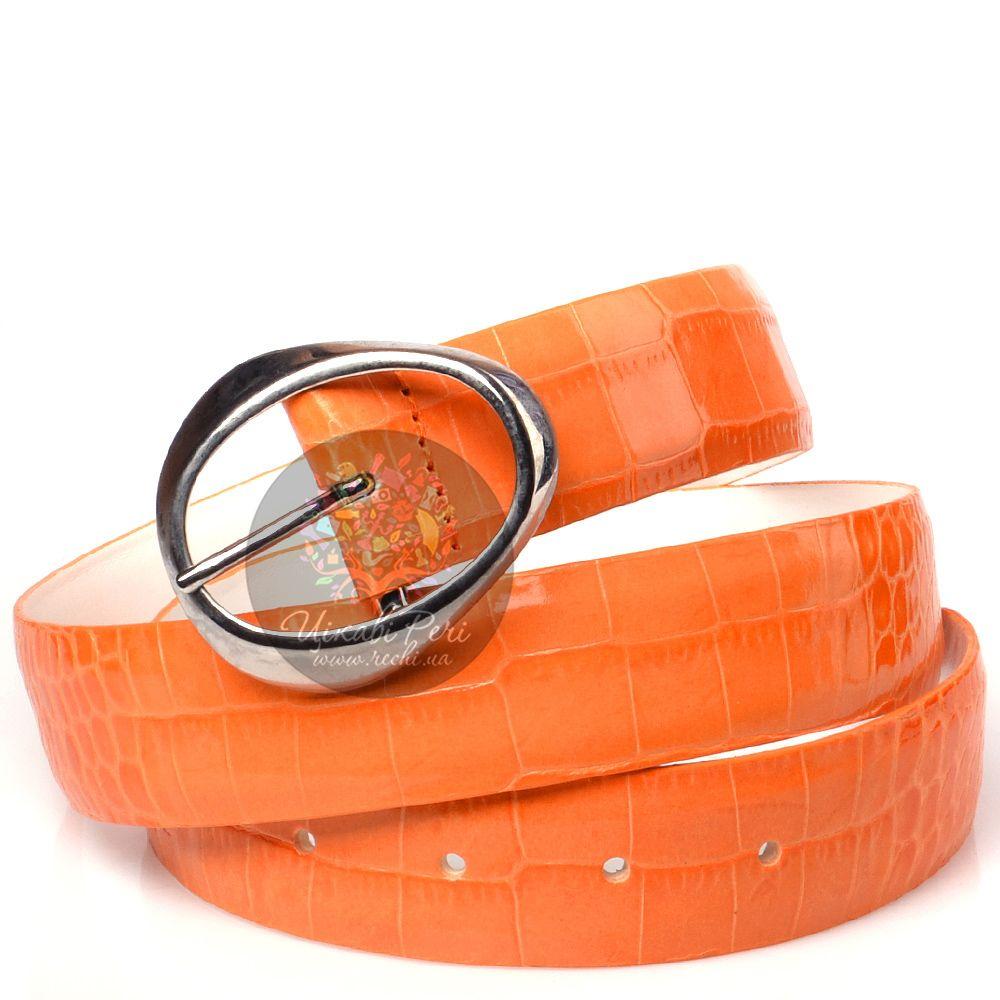 Ремень Orciani оранжевый лаковый с тиснением под кожу крокодила