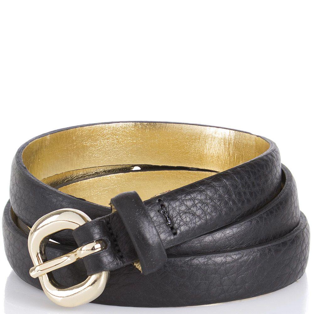 Ремень Tosca Blu черного цвета с золотистой обратной стороной