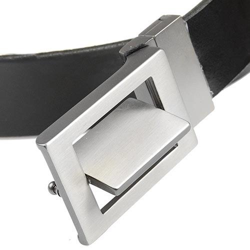 Кожаный ремень Loyd черный мужской со стальной немного рельефной пряжкой, фото