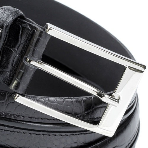 Ремень Baldinini черного цвета из фактурной кожи под крокодила, фото