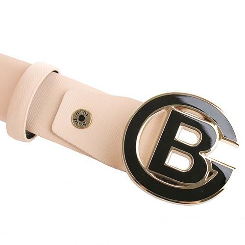 Ремень Baldinini бежевого цвета из фактурной кожи и с круглой пряжкой, фото