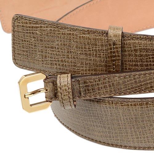 Женский кожаный ремень Escada светло-коричневый с фактурой Сафьяно двойной, фото