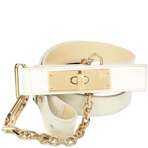 Женский кожаный ремень Escada молочного цвета с золотистой цепью-декором, фото