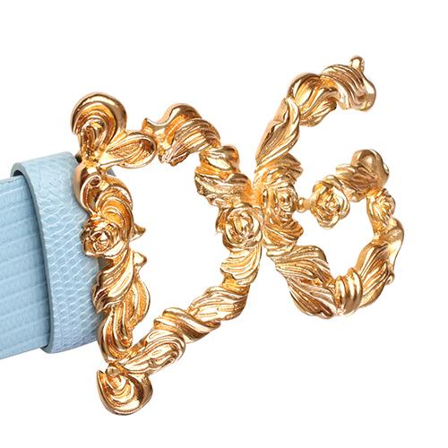 Голубой ремень Dolce&Gabbana с золотистой пряжкой, фото
