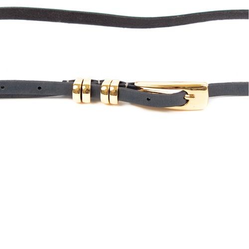 Ремень Eterno женский кожаный узкий серый с золотистой пряжкой и шлевками, фото