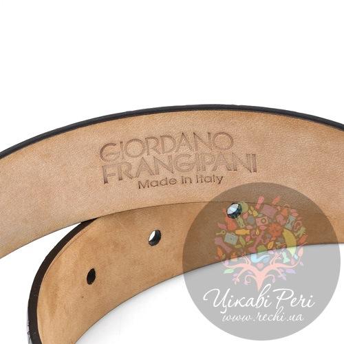 Ремень Gordano Frangipani темно-коричневый лаковый под крокодила, фото