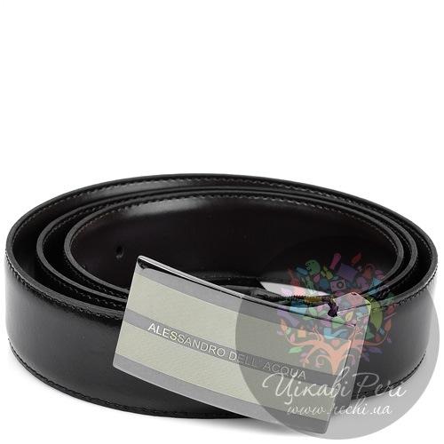 Ремень Alessandro Dell Acqua кожаный двусторонний со стильной пряжкой, фото