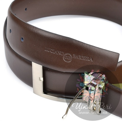 Ремень Luciano Barbera коричневый кожаный с классической пряжкой, фото