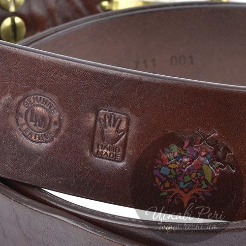 Ремень La Martina мужской кожаный коричневый с золотистой пряжкой, фото