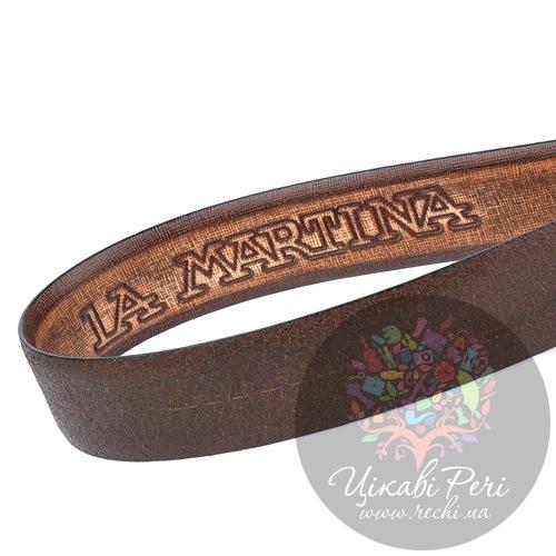 Ремень La Martina мужской кожаный коричневый с фактурой Сафьяно, фото