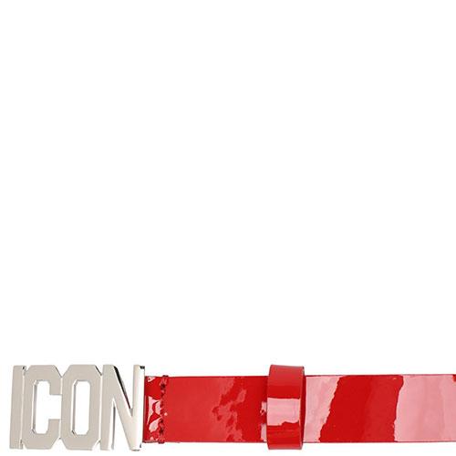 Красный ремень Dsquared2 Icon из лаковой кожи, фото
