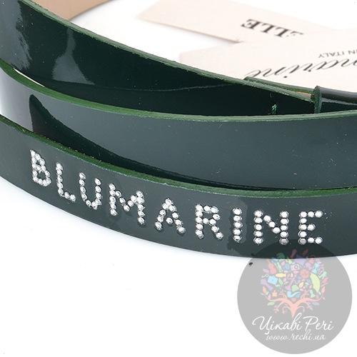 Ремень Blumarine женский кожаный лаковый темно-зеленый тонкий, фото