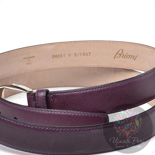 Ремень Brioni женский кожаный цвета баклажана, фото