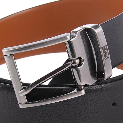 Ремень мужской Cavalli Class кожаный черного цвета с матовой пряжкой, фото