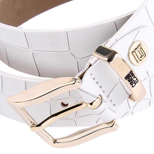 Ремень женский Cavalli Class кожаный белый с фактурой рептилии, фото