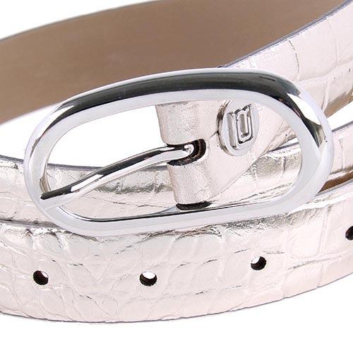 Ремень женский Cavalli Class кожаный серебристый с фактурой рептилии, фото