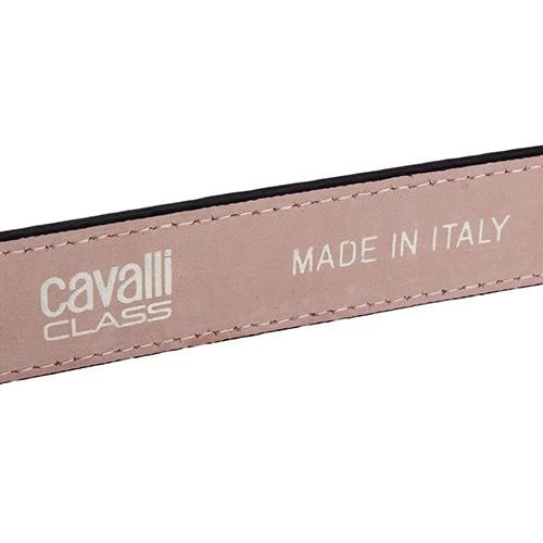 Женский ремень Cavalli Class черный лаковый с тиснением под кожу крокодила и с золотистой пряжкой, фото