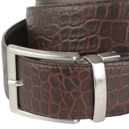 Мужской ремень Cavalli Class темно-коричневого цвета с тиснением под кожу крокодила и серебристой пряжкой, фото