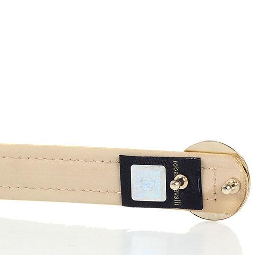 Женский ремень Cavalli Class золотого цвета с круглой пряжкой в виде фирменной змеи, фото