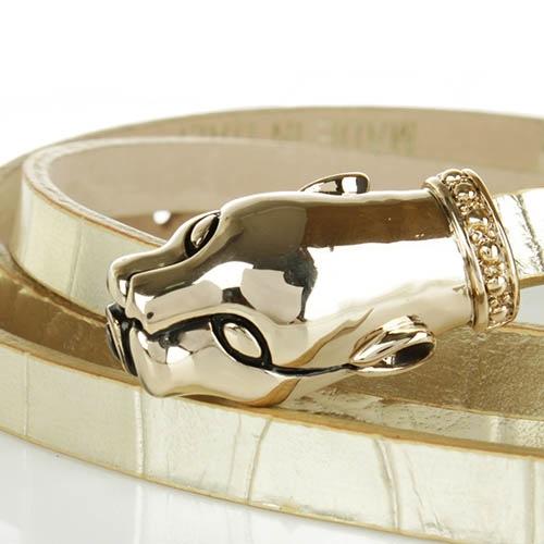 Ремень Cavalli Class тонкий из рельефной кожи под крокодила светло-золотистого цвета, фото