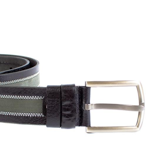 Ремень Eterno кожаный черно-серый, фото