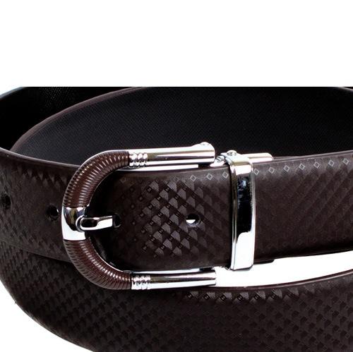 Ремень Eterno кожаный коричневый с коричнево-стальной пряжкой, фото