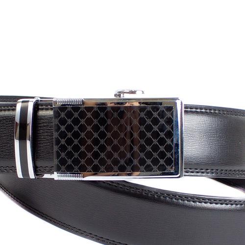 Ремень Eterno кожаный гладкий черный с декорированной ромбами пряжкой, фото
