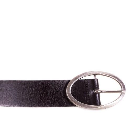 Ремень Eterno женский кожаный черный средней ширины с овальной пряжкой, фото
