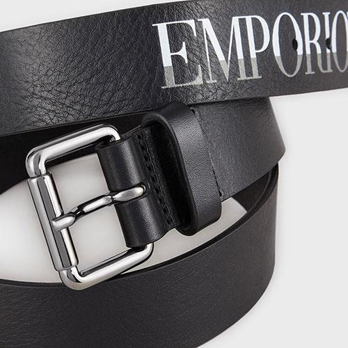 Ремень с принтом Emporio Armani из черной кожи, фото