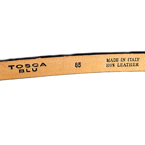 Ремень Tosca Blu черного цвета с золотистой обратной стороной, фото