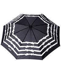Зонт-автомат Baldinini Knot черный с принтом-бантами, фото