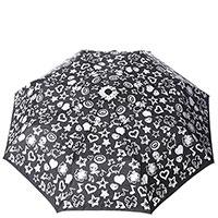 Механический зонт Baldinini Melody черный с белым принтом, фото