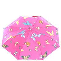 Складной зонт-автомат Ferre розового цвета с бабочками, фото