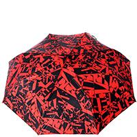 Зонт-полуавтомат Ferre черно-красный с орнаментом, фото