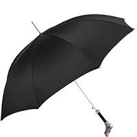 Черный зонт-трость Pasotti с латунной ручкой-драконом, фото