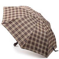 Зонт складной Pasotti коричневого цвета в клетку, фото