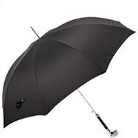 Черный зонт-трость Pasotti с ручкой в виде бульдога, фото
