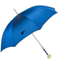 Синий зонт-трость Pasotti с ручкой в форме льва, фото