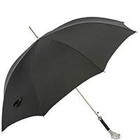 Черный зонт-трость Pasotti с ручкой в виде пантеры с кристаллами, фото