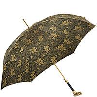 Черный зонт-трость Pasotti с золотистым принтом-драконами, фото