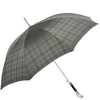 Клетчатый зонт-трость Pasotti с ручкой в форме совы, фото