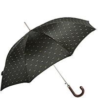 Черный зонт-трость Pasotti с полосатым принтом внутри, фото