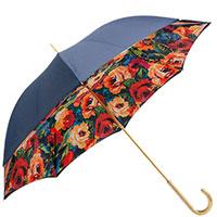 Синий зонт-трость Pasotti с принтом-маки внутри, фото