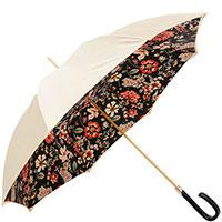 Бежевый зонт-трость Pasotti с растительным принтом внутри, фото