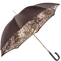 Коричневый зонт-трость Pasotti с флористическим принтом, фото