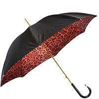 Черный зонт-трость Pasotti с леопардовым принтом, фото