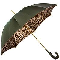 Зонт-трость с кожаной ручкой Pasotti оливкового цвета, фото