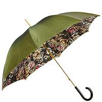 Зеленый зонт-трость Pasotti с узором на ручке, фото