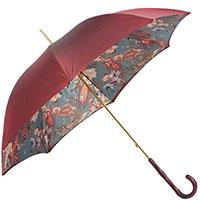 Бордовый зонт-трость Pasotti с принтом внутри, фото